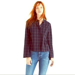 MADEWELL Bell Sleeve Shirt in Windowpane BLUE XS